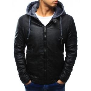 Přechodná pánská kožená bunda černé barvy
