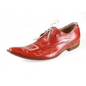 Pánské kožené extravagantní boty červené