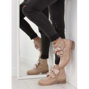 Béžové dámské boty s mašlemi