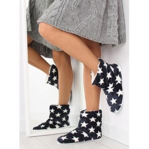 Modré dámské pantofle s motivem hvězd