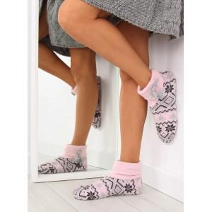 Růžové dámské papuče ve skandinávském motivu