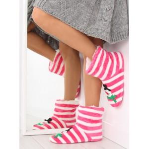 Růžové dámské papuče se sněhulákem
