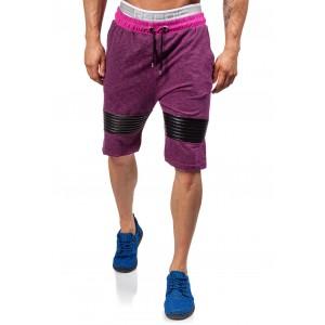 VELIOST L Krátké pánské teplákové kalhoty v bordó barvě