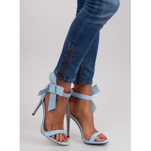 VELIKOST 41 Dámské sandály v modré barvě na vysokém podpatku