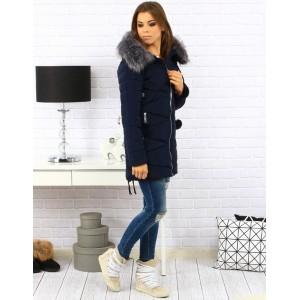 Elegantní dámská zimní bunda tmavě modré barvy s kožešinou