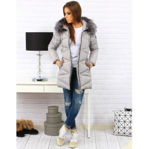 Šedé dámské prošívané bundy na zimu s kapucí