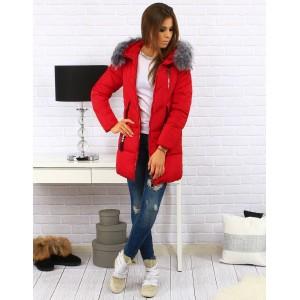 Elegantní dámské zimní bundy červené barvy