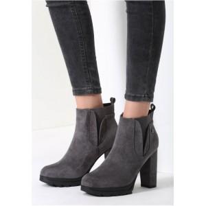 Tmavě šedé dámské kotníkové zimní boty s tlustou podrážkou