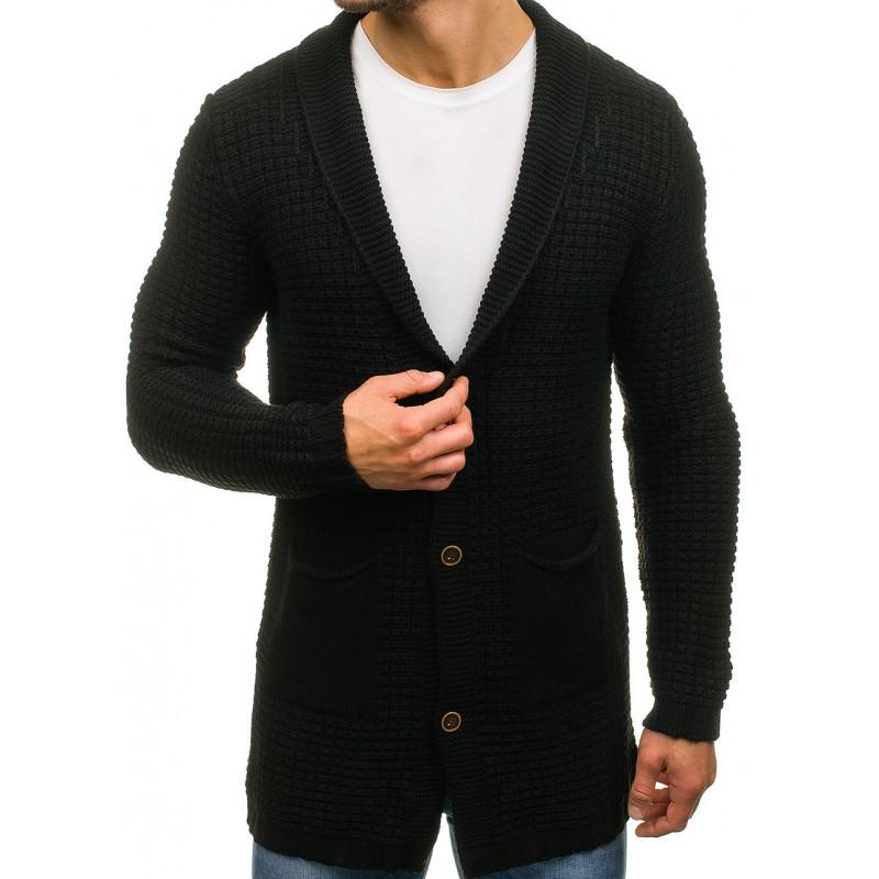 Dlouhý elegantní pánský svetr černé barvy s knoflíky a kapsami ... 7c33188395