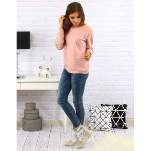 Bavlněný růžový dámský svetr s ozdobnými perličkami
