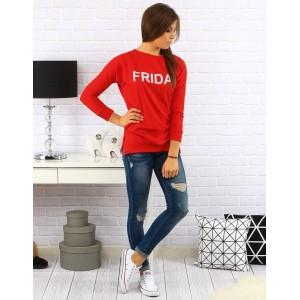 Pohodlný červený dámský svetr s bílým nápisem Friday