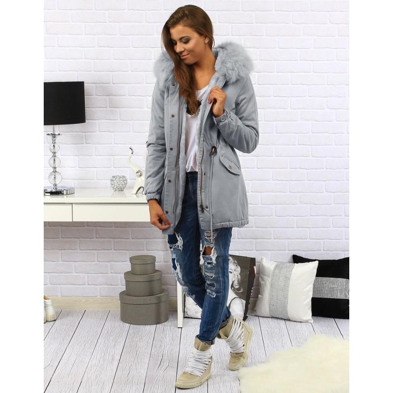 Dlouhá dámská zimní bunda šedé barvy s kapucí a kožešinou - manozo.cz 80be1d37825