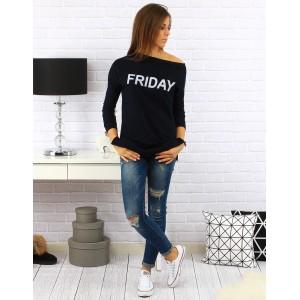 Tmavě modrý bavlněný dámský svetr s tríčtverečným rukávem a nápisem Friday