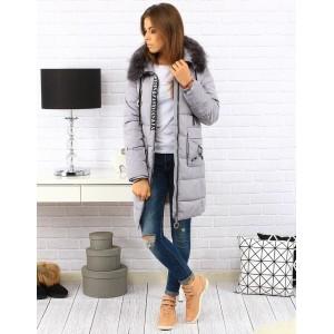 Dlouhá šedá dámská prošívaná bunda na zimu s kapucí a kapsami
