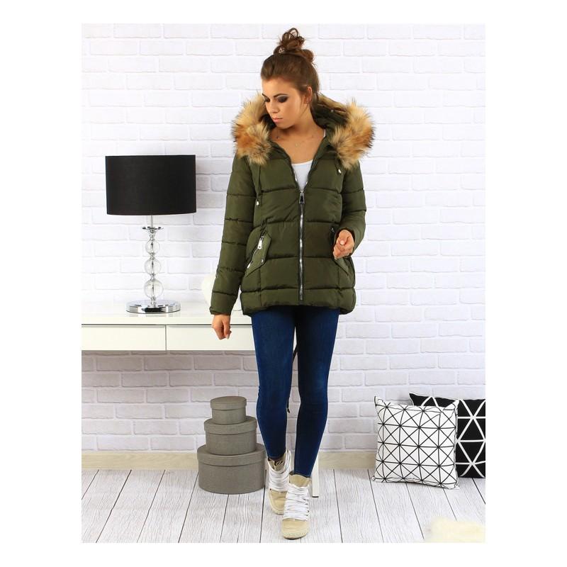 Elegantní dámská zimní bunda v khaki barvě s kožešinou a zapínáním ... 048383e1e5