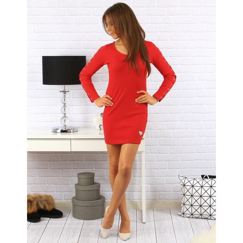 05842fee548d Předchozí. Moderní dámské minišaty nad kolená se srdíčkem a spojovanými  rukávy v červené barvě ...