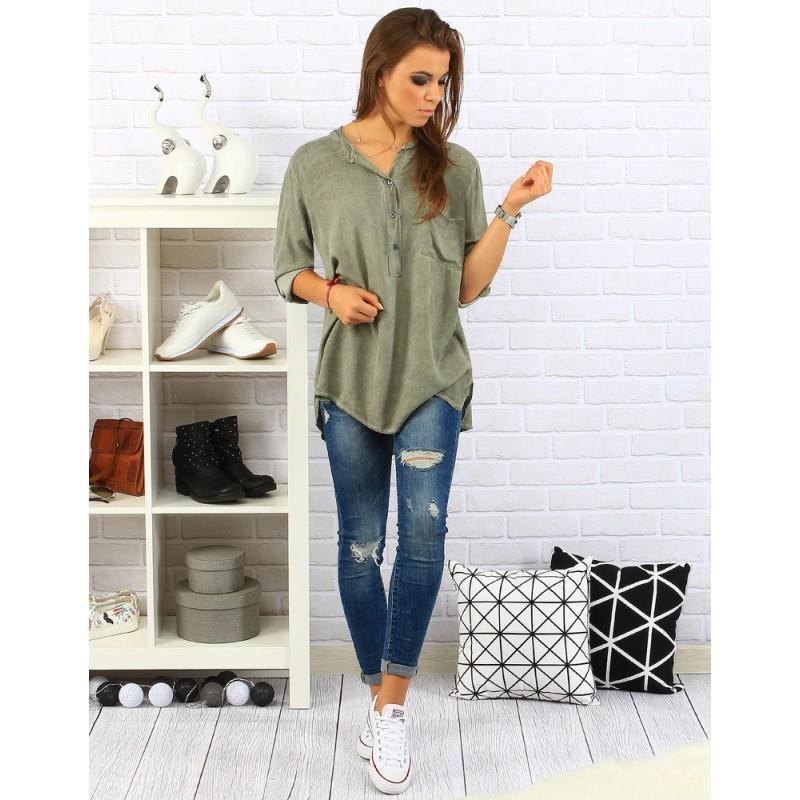 d40a33259891 Předchozí. Pohodlná a elegantní dámská košile volného střihu olivově zelené  barvy · Pohodlná a elegantní dámská ...