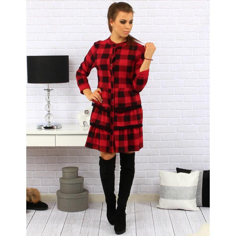 10d1ca5824ad Černo červené kárované krátké šaty po kolena s volánkovou sukní a ...