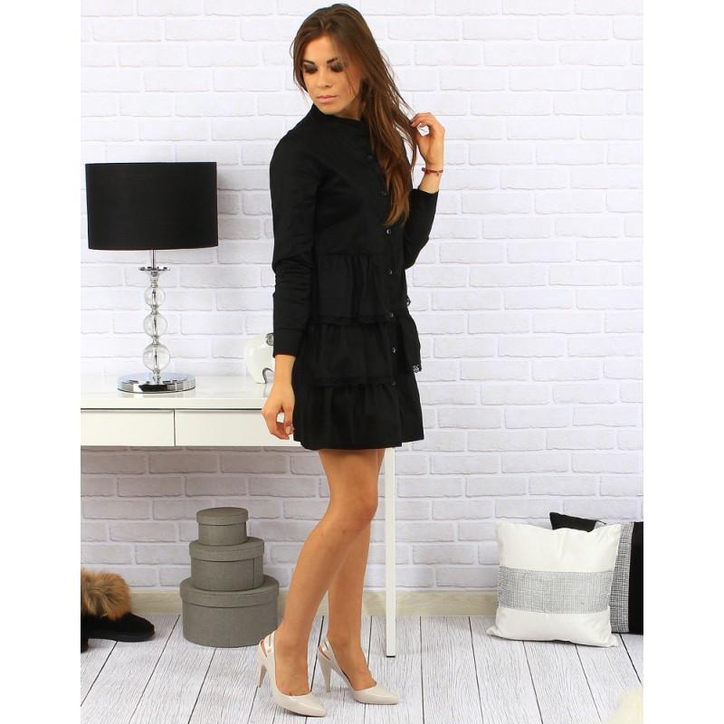 Elegantní dámské černé šaty nad kolena s volánkovou sukní a ... 1fba15c2fd
