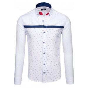 Elegantní bílá pánská košile s modrým vzorem a zapínáním na knoflíky