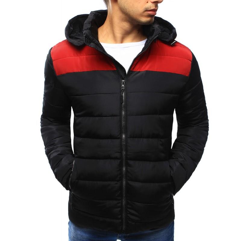 Černá pánská zimní bunda černo červené barvy - manozo.cz af3bd1907e9