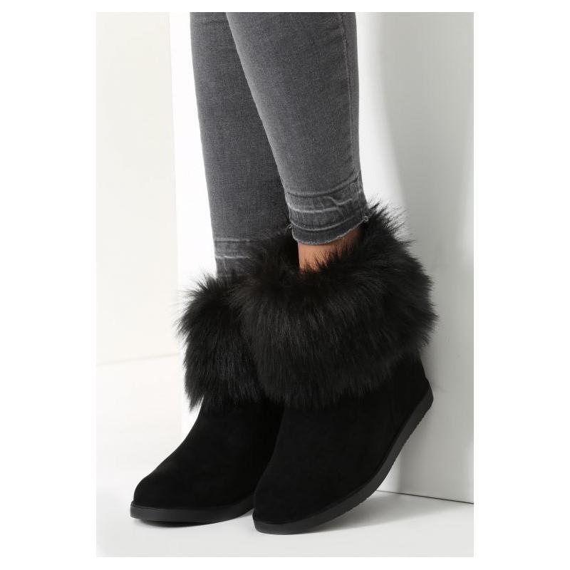 389397f411 Moderní dámské zimní boty na vysoké platformě v černé barvě s černou ...