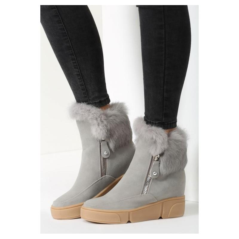 6aa815719 Dámské zateplené kotníkové kozačky na zimu v šedé barvě se šedou ...