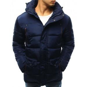 Sportovní pánská prošívaná zimní bunda tmavě modré barvy s kapucí