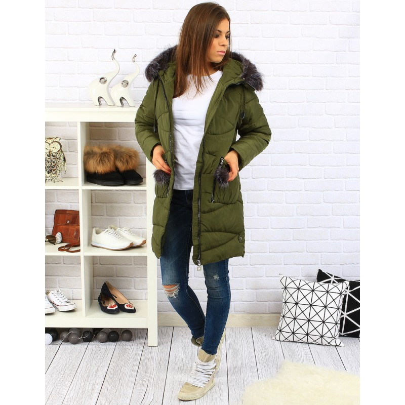 1bd7473042cd Předchozí. Tmavě zelené dámské zateplené bundy na zimu s kožešinou a kapsami  na zip · Tmavě zelené dámské zateplené ...