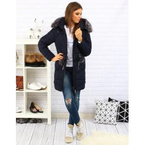 Moderní dámská zateplená bunda tmavě modré barvy s odnímatelnou kožešinou