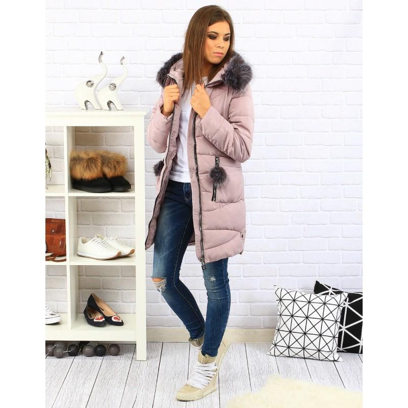 Růžová dámská zateplená bunda na zimu se zipem a odnímatelnou ... 1d7103c9b5