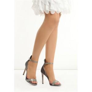 VELIKOST 36 Šedé dámské sandály na jehlovém podpatku