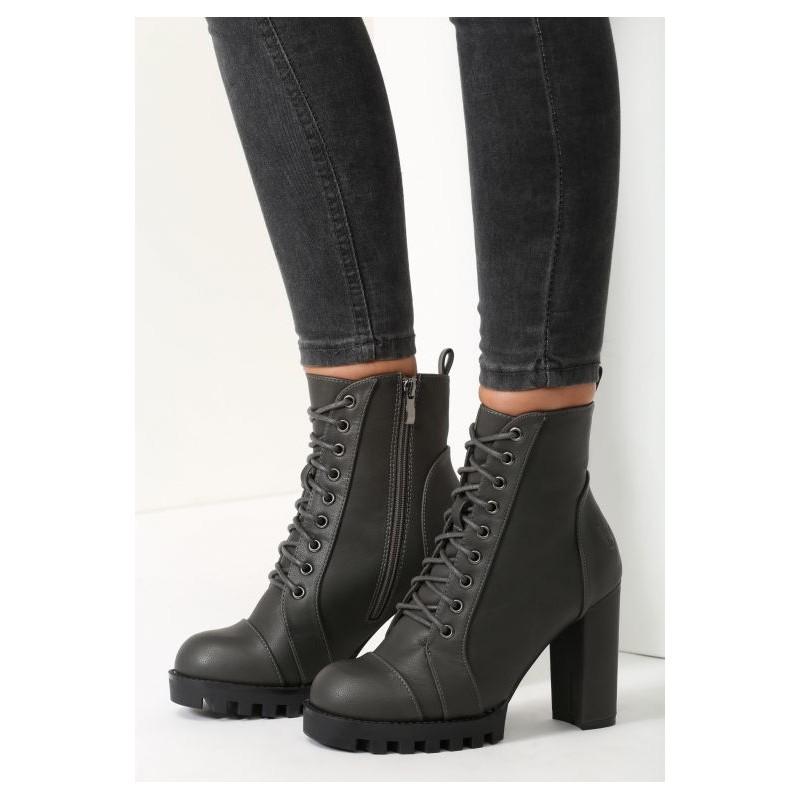 Moderní dámské kotníkové boty na vysokém podpatku v tmavě šedé barvě ... 9c0b5006ac