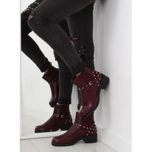 Vínové kotníkové dámské boty s kamínky a přezkou