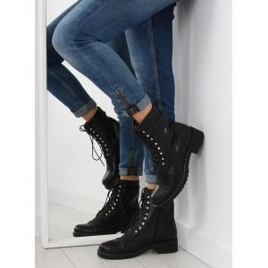 Elegantní černé dámské boty na zip s kamínky