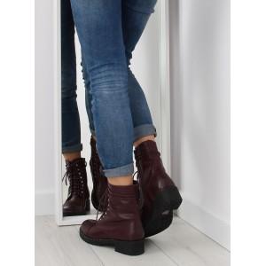 Vínové dámské kotníkové boty se šněrováním na zimu