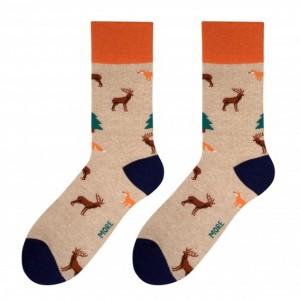 Veselé pánské ponožky béžové barvy s motivem lesa