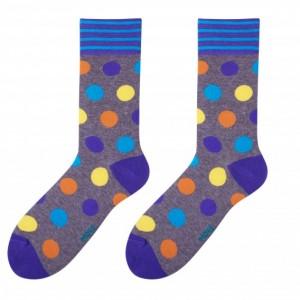 Elegantní pánské ponožky šedé barvy s barevnými kuličkami
