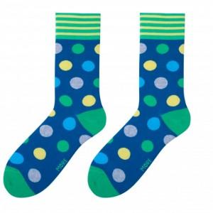 Tmavě modré pánské moderní ponožky s barevným vzorem