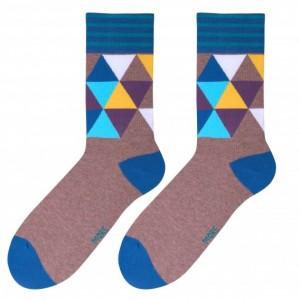 Kvalitní pánské ponožky béžové barvy s pestrobarevnou mozaikou