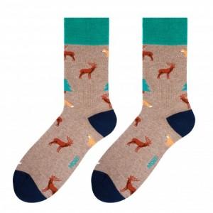 Vzorované pánské ponožky béžovo zelené barvy s motivem lesa