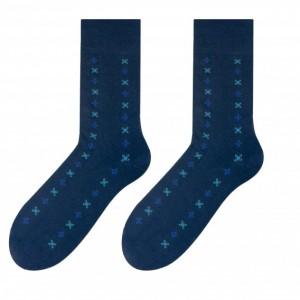 Elegantní pánské ponožky modré barvy s motivem FLIES