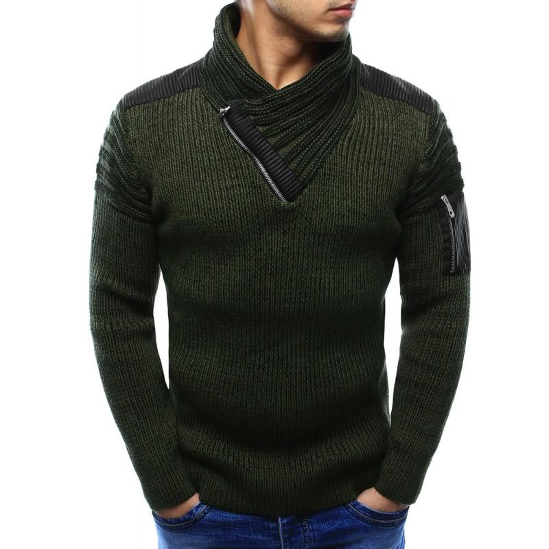 Pánský svetr s elegantním límcem a zipem na rukávu v khaki barvě ... 968b3cfcc4