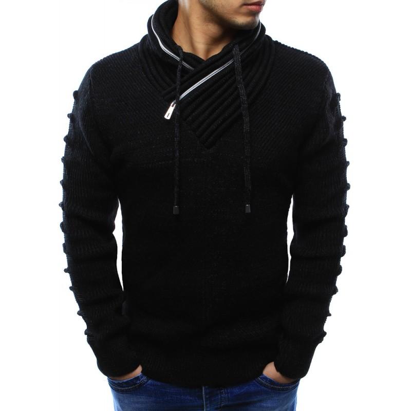 Černé pánské pletené svetry s límcem a dlouhými šňůrkami - manozo.cz b0b9bde411