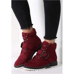Bordó dámská zimní obuv na nízkém podpatku a na šněrování