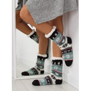 Elegantní dámské ponožky modré barvy s vánočním vzorem