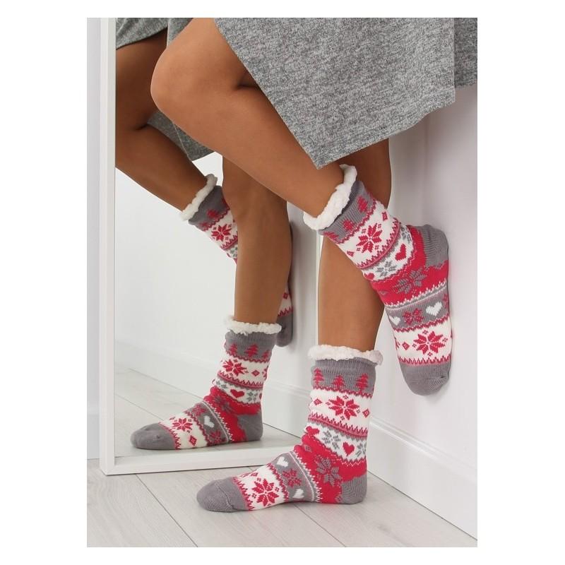 40d96971a0d Moderní dámské ponožky růžové barvy se severským motivem - manozo.cz