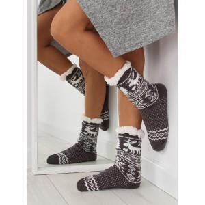 Jemné dámské ponožky šedé barvy s vánočním vzorem