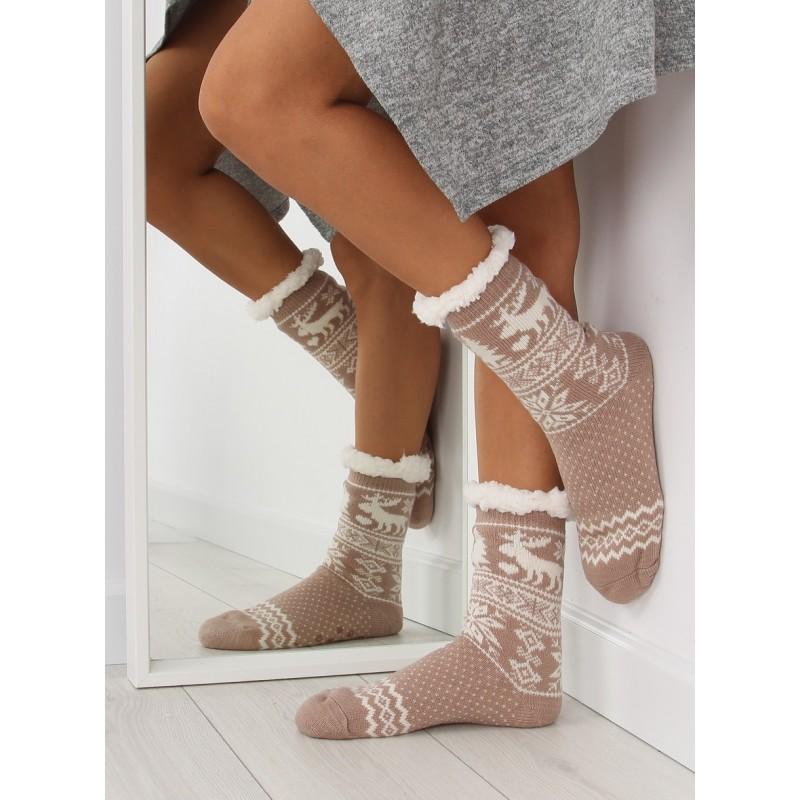Elegantní dámské hřejivé ponožky béžové barvy se severským vzorem ... d3b82f1205