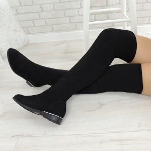 Elegantní dámské zimní kozačky černé barvy nad kolena